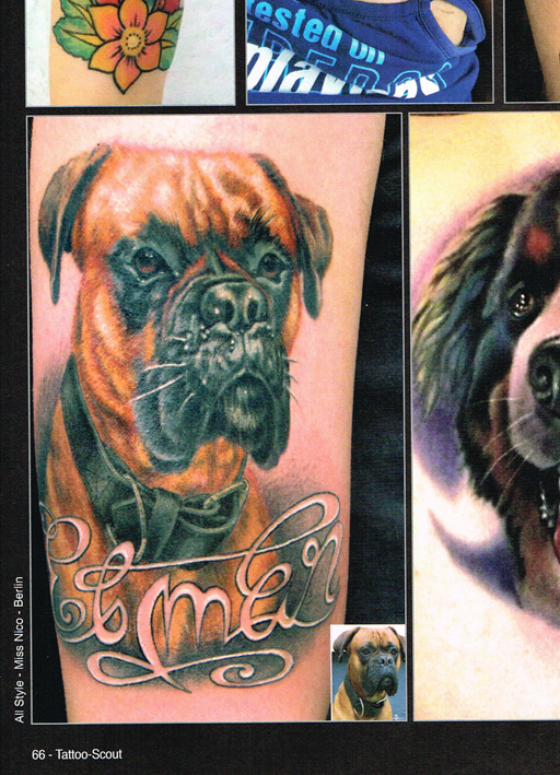 Tattoo Scout 9-14 miss Nico All Style Tattoo boxer Hund dog portrait