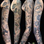miss nico allstyletattooberlin tattoo inked roses blackandgrey fullsleeve flower