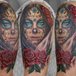 miss nico allstyletattooberlin tattoo inked lacatrina muertostattoo portrait face