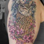 miss nico allstyletattooberlin tattoo inked eule owl kirschzweig colortattoo
