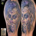 miss nico allstyletattooberlin tattoo inked lacatrina muertostattoo portrait coverup face raven