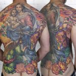 miss nico allstyletattooberlin tattoo inked religion jesus maria fresco engel angel putte heilige holies roses rosen colortattoo backpiece rueckenbild bigtattoo